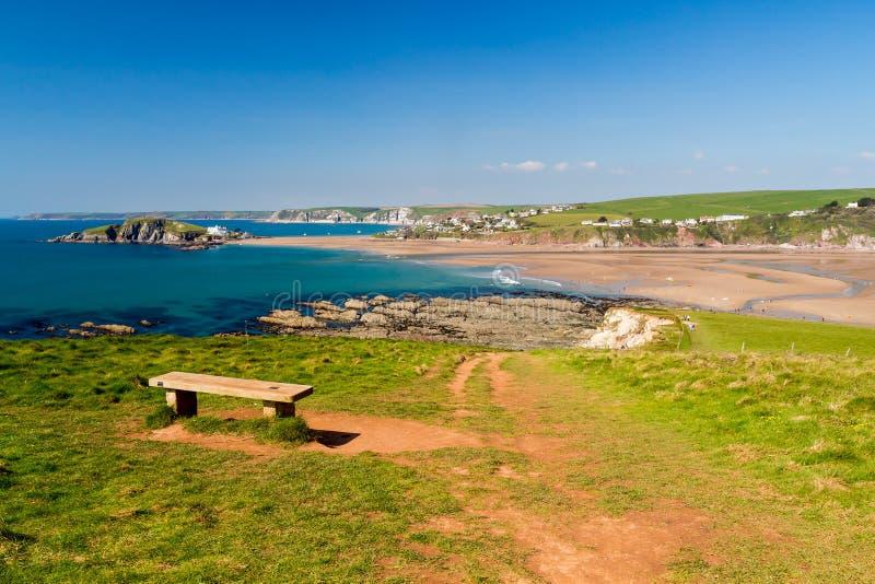 Пляж Девон Bantham стоковое изображение rf