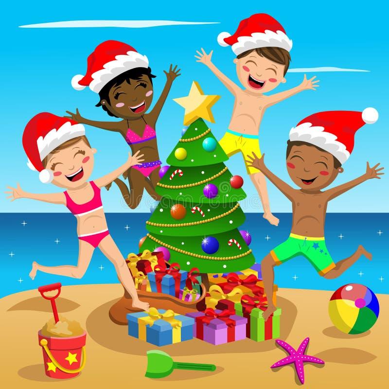 Пляж дерева счастливой многокультурной шляпы xmas купальника детей скача тропический бесплатная иллюстрация