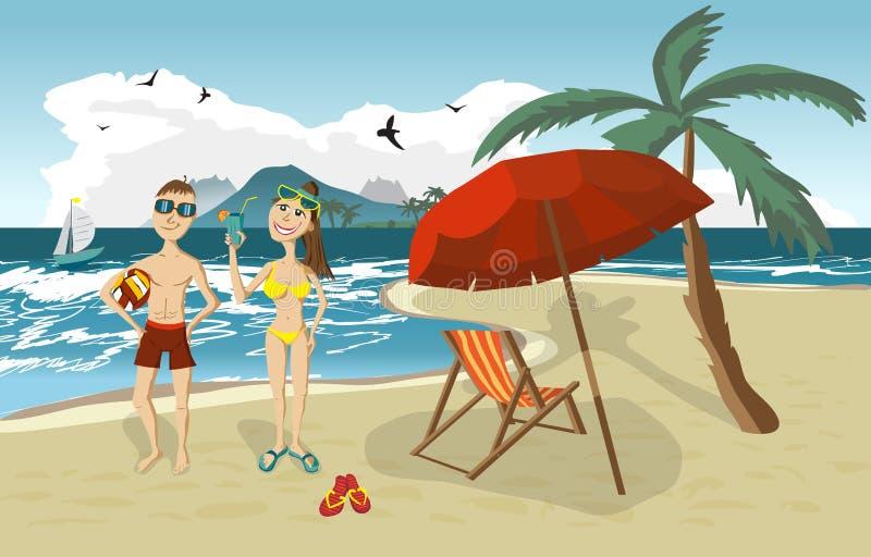 Пляж лета ландшафта моря, пальма, зонтики солнца, кровати пляжа бесплатная иллюстрация