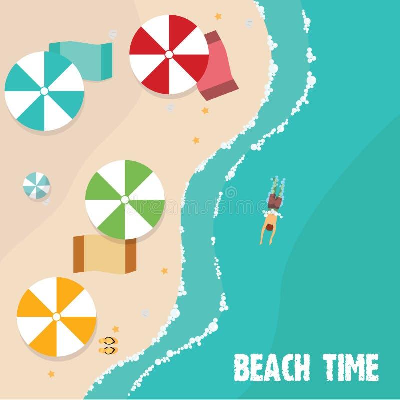 Пляж лета в плоских дизайне, виде с воздуха, стороне моря и зонтиках, иллюстрации вектора иллюстрация штока