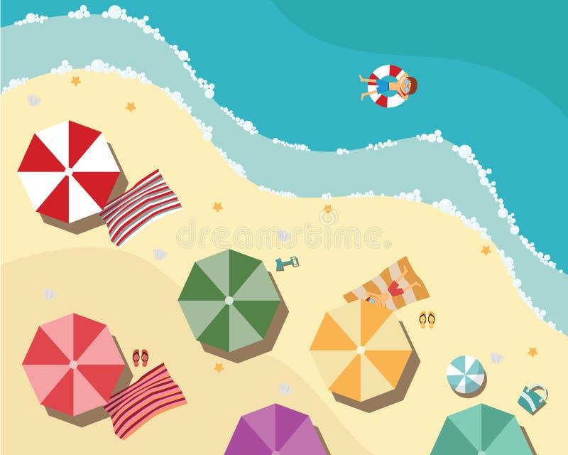Пляж лета в плоском дизайне, виде с воздуха, стороне моря бесплатная иллюстрация