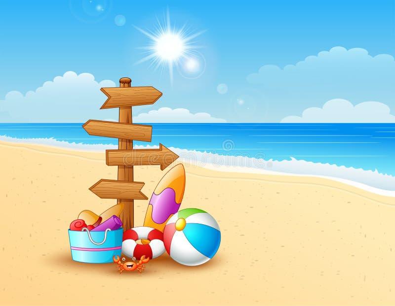 Пляж лета с деревянной стрелкой иллюстрация вектора