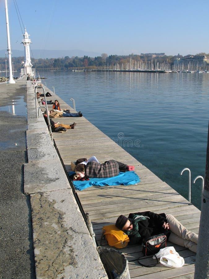 Пляж зимы в Женеве стоковое фото rf