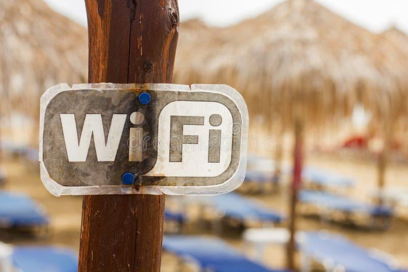 Пляж зоны Wifi доступный стоковое фото rf