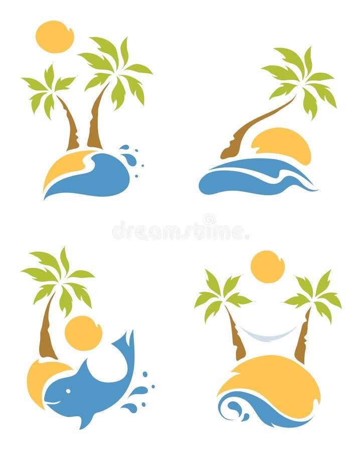 Пляж и ладони иллюстрация штока