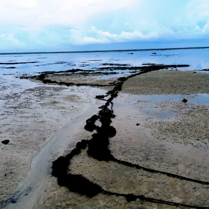 Пляж и облака океана в небе в экзотическом назначении стоковые фотографии rf