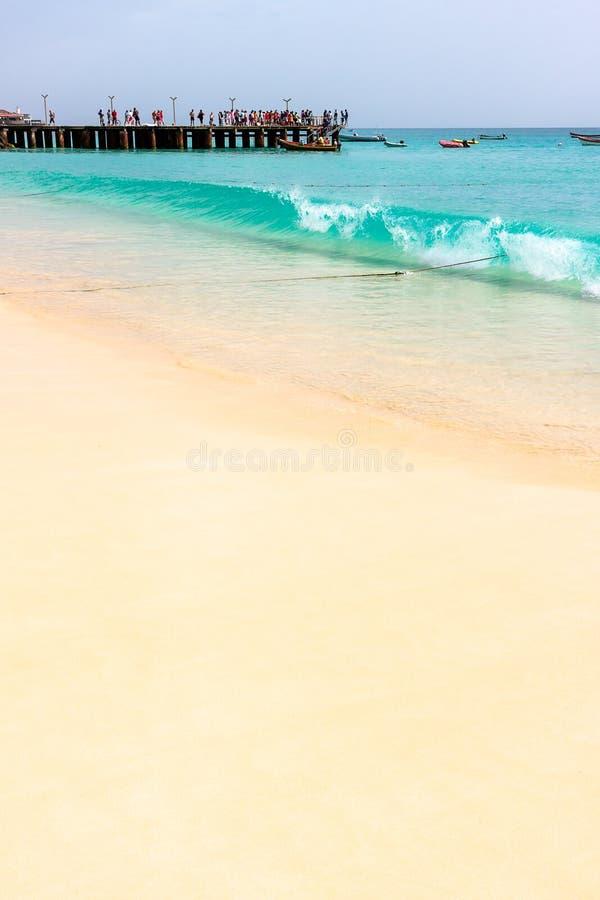 Пляж Кабо-Верде, Santa Maria стоковая фотография