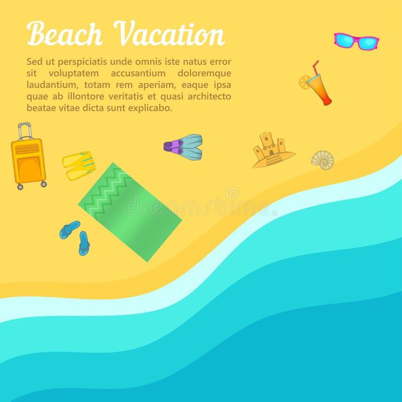 Пляж концепции остатков моря, стиль шаржа иллюстрация вектора