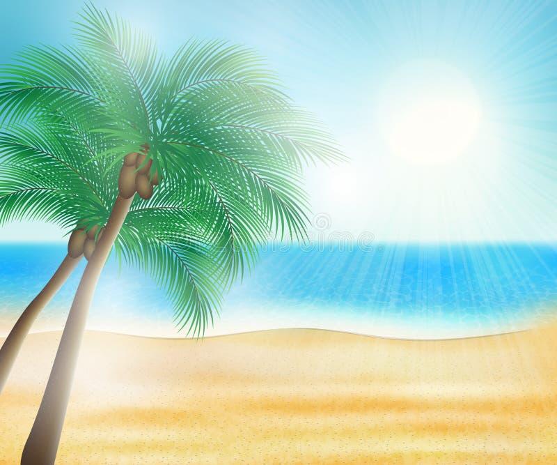 Пляж моря лета иллюстрация штока