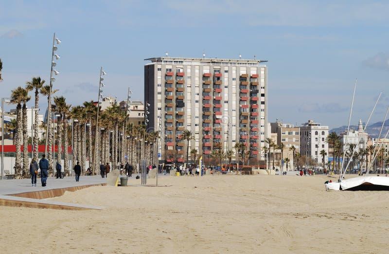 Пляж на Барселоне. Испания стоковые фото