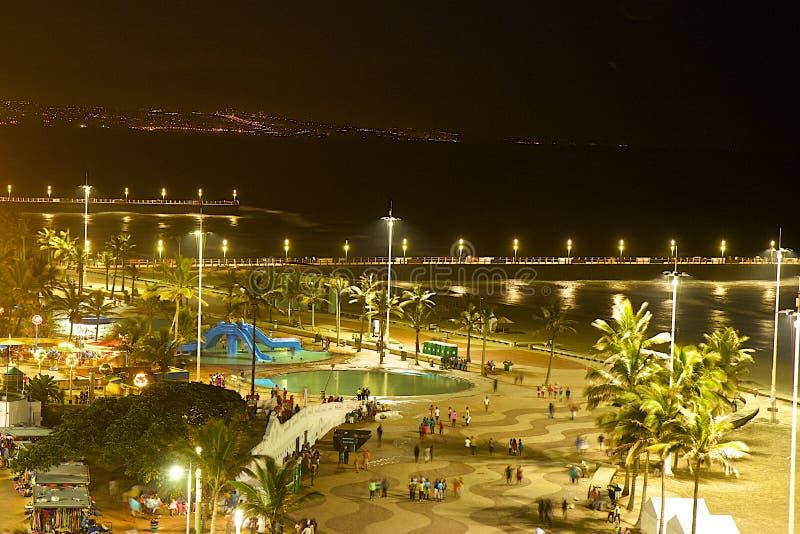 Пляж на ноче, Южная Африка Дурбана стоковые фото
