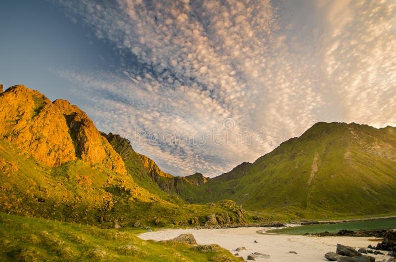 Пляж на островах Норвегии Lofoten стоковая фотография