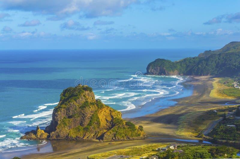 Пляж Окленд Новая Зеландия Piha утеса льва стоковые изображения rf
