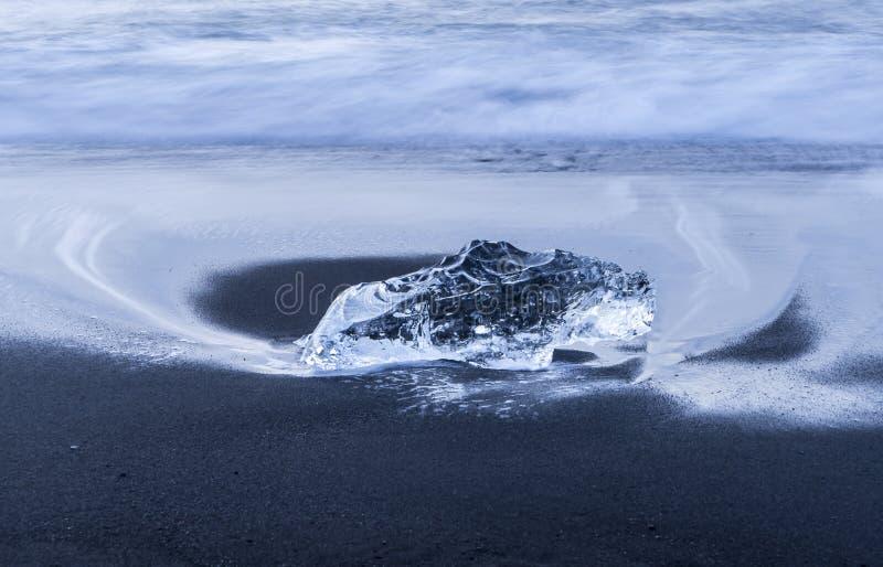 Пляж отработанных формовочных смесей - лед и океан стоковые фотографии rf