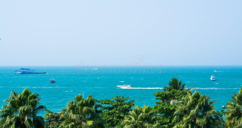 Пляж Паттайя под ясным небом стоковое изображение rf