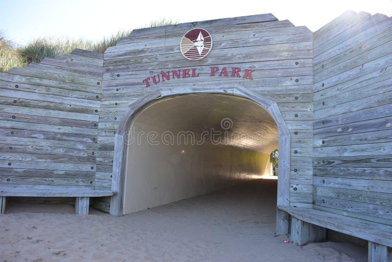 Пляж песка парка тоннеля Голландии стоковая фотография rf