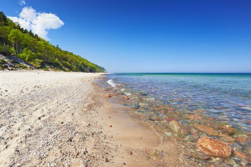 Пляж побережья Балтийского моря лета, Польша стоковые фотографии rf