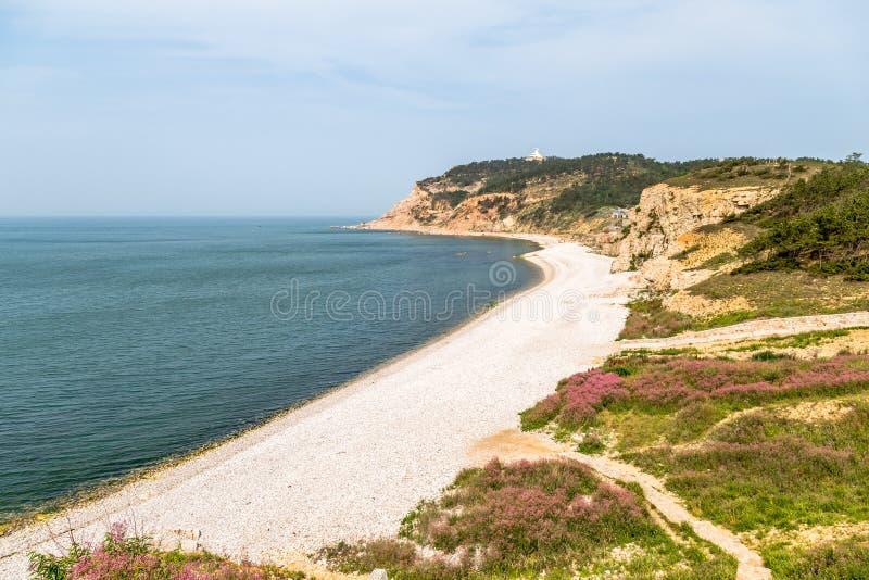 Пляж пятна пейзажа Jiuzhangya в острове Changdao, Yantai стоковое фото