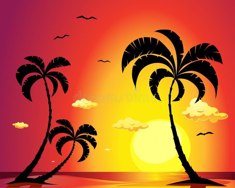 Пляж с пальмами на заходе солнца иллюстрация вектора