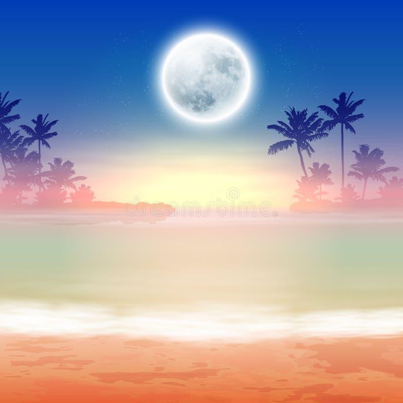 Пляж с полнолунием на ноче иллюстрация штока
