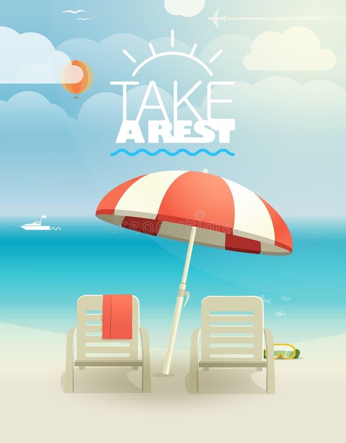 Пляж с стулами иллюстрация вектора
