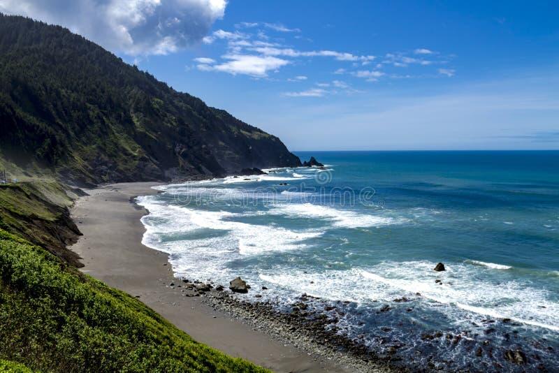 Пляж Тихого океана сценарный обозревает стоковое изображение