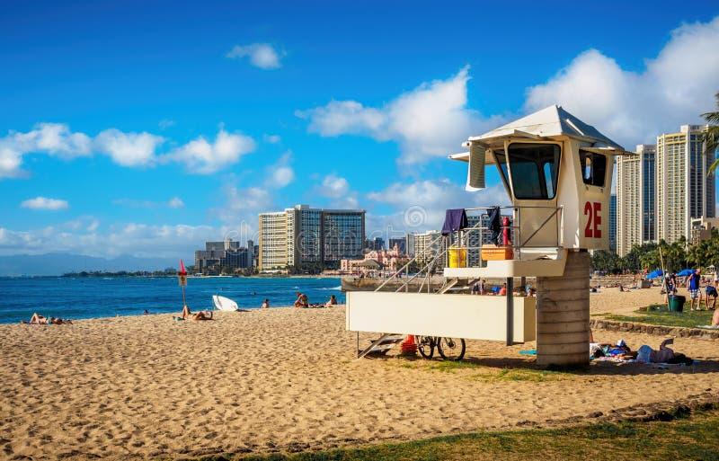 Пляж-ходоки в зоне пляжа Waikiki стоковое фото rf