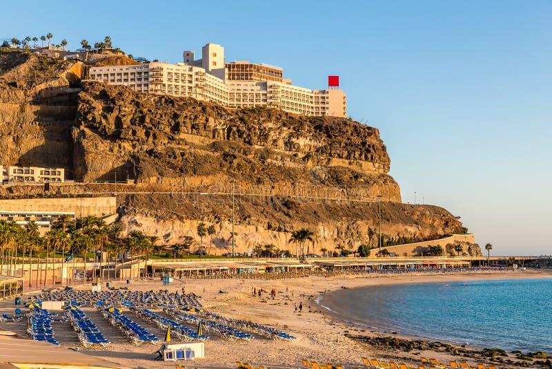 Пляж Amadores - Пуэрто-Рико, Gran Canaria, Испания стоковые фотографии rf