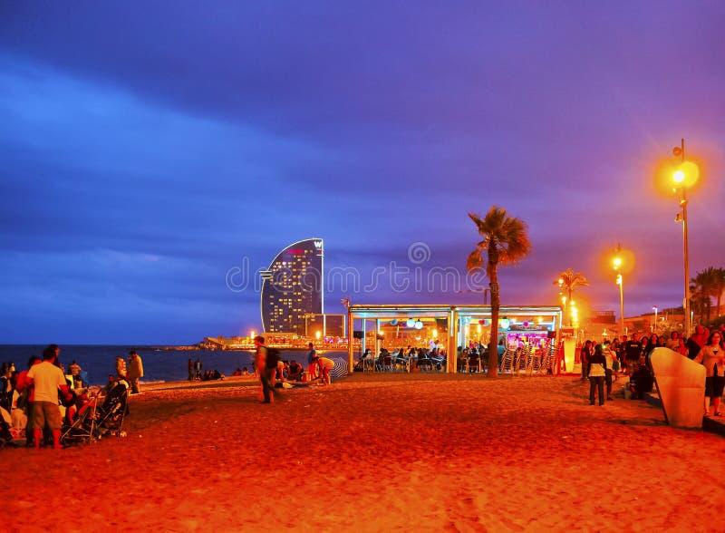 Пляж Barceloneta в Барселона стоковое фото rf