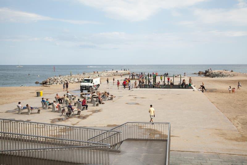 Пляж Barceloneta стоковое изображение