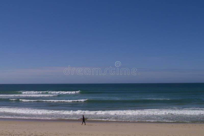 Пляж Beleal Peniche Португалия Gamboa серфера стоковые фото