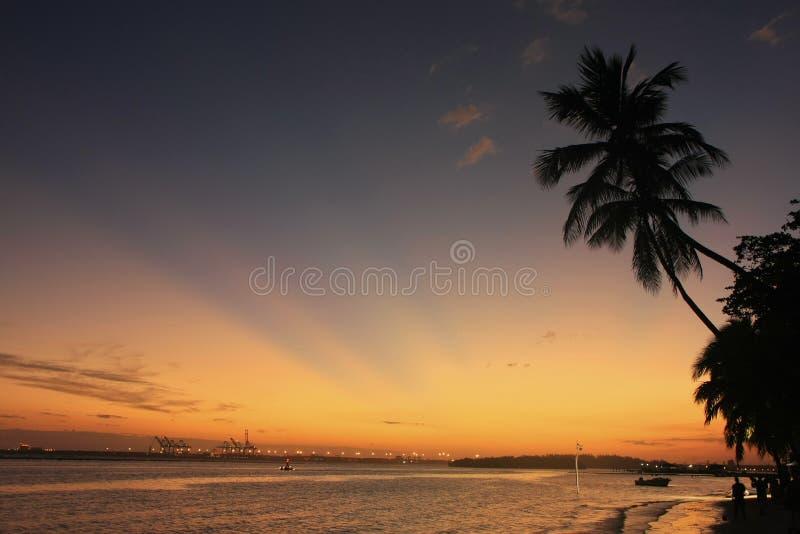 Пляж Boca Chica на заходе солнца стоковая фотография