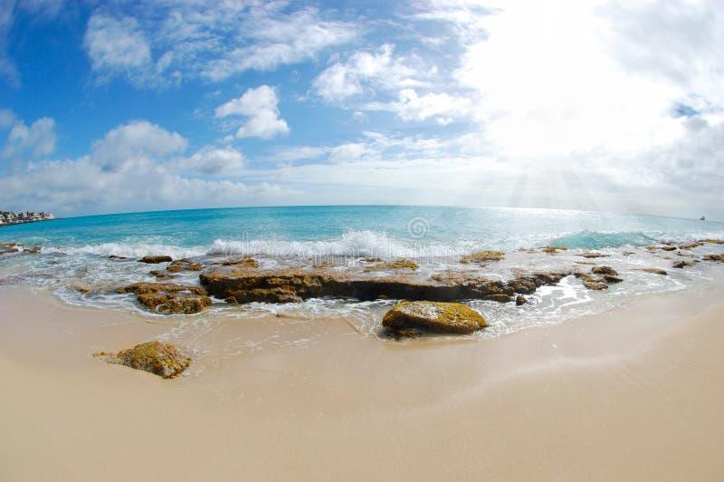 Пляж - Fisheye стоковые изображения rf