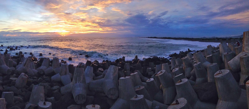 Пляж Glagah стоковые фотографии rf