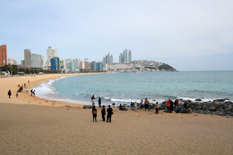 Пляж Haeundae в Пусане, Южной Корее стоковое фото