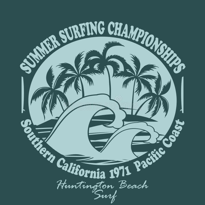 Пляж Huntington эмблемы оформления носки серферов иллюстрация штока