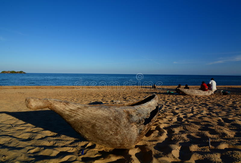 Пляж Kande Озеро Малави, Малави стоковая фотография rf