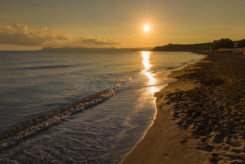 Пляж Kato Stalos, префектура Chania, западный Крит, Греция стоковые изображения rf