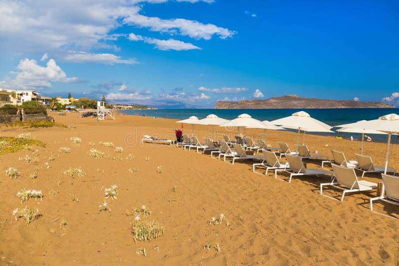 Пляж Kato Stalos, префектура Chania, западный Крит, Греция стоковые фото
