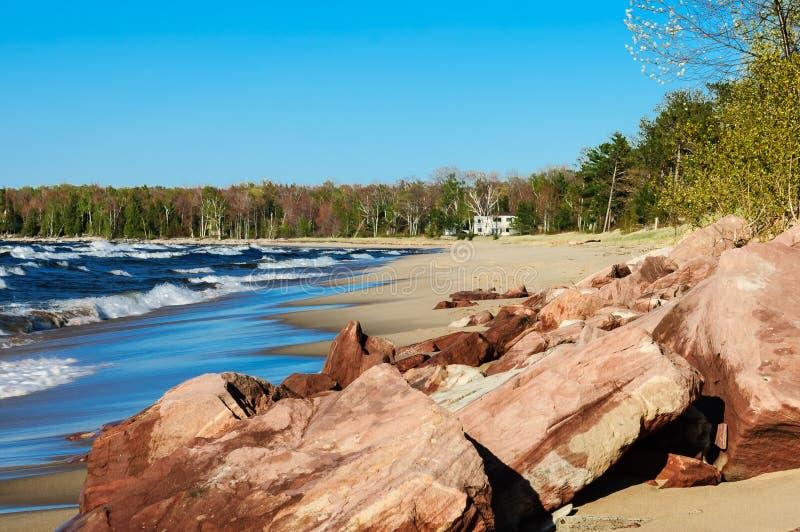 Пляж Lake Superior стоковые фотографии rf