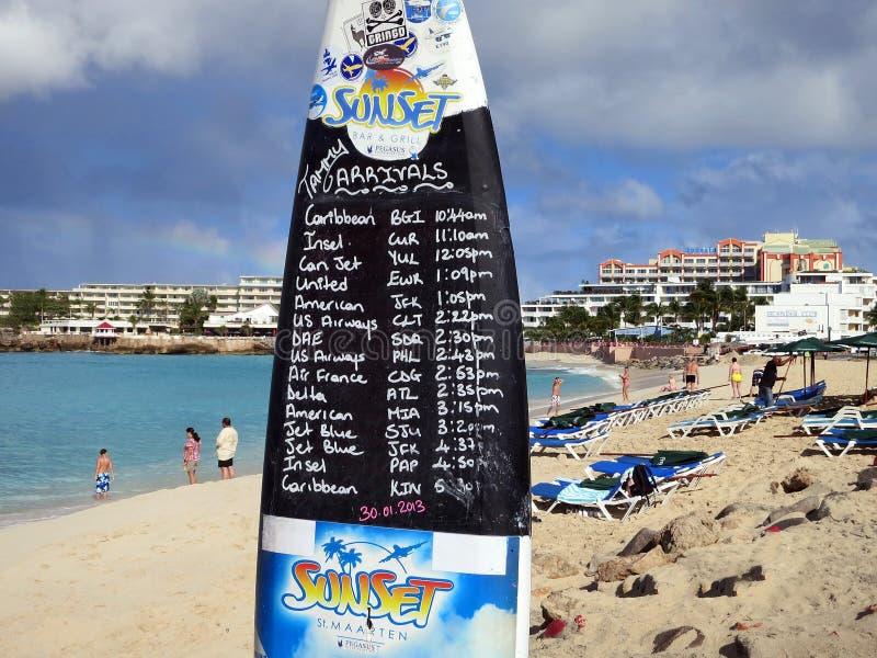Пляж Maho, Sint Maarten стоковые фотографии rf