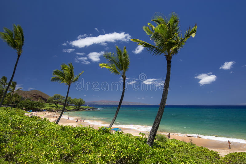 Пляж Maluaka, южный Мауи, Гаваи, США стоковое изображение