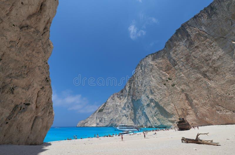 Пляж Navagio - Закинф стоковая фотография rf