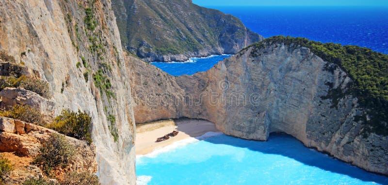 Пляж Navagio на острове Закинфа, Греции стоковые фотографии rf