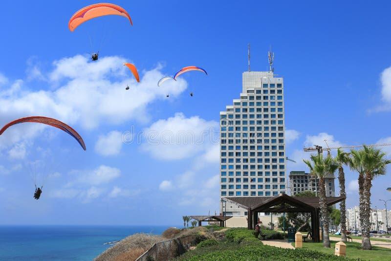 Пляж Netania См. парапланы в небе стоковые фото