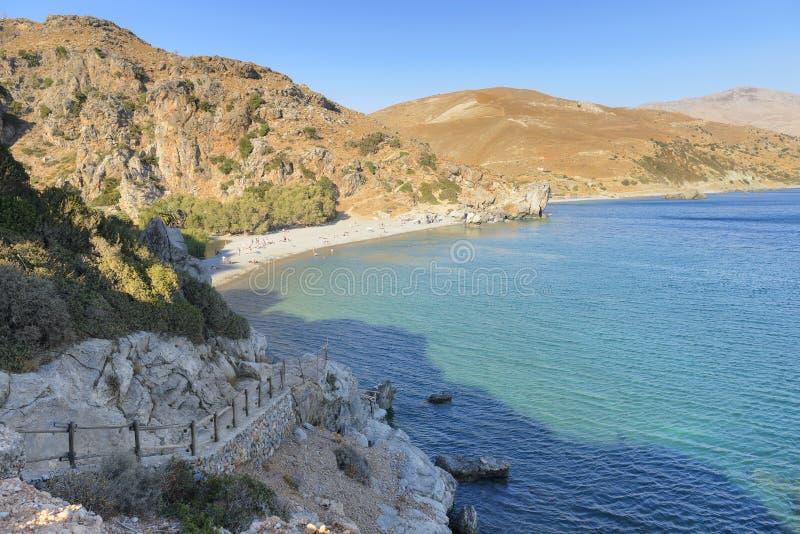 Пляж Preveli и ливийское море. Крит. Греция стоковые изображения