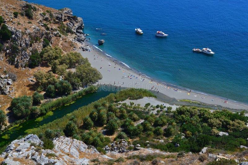 Пляж Preveli, Creta, Греция стоковое изображение