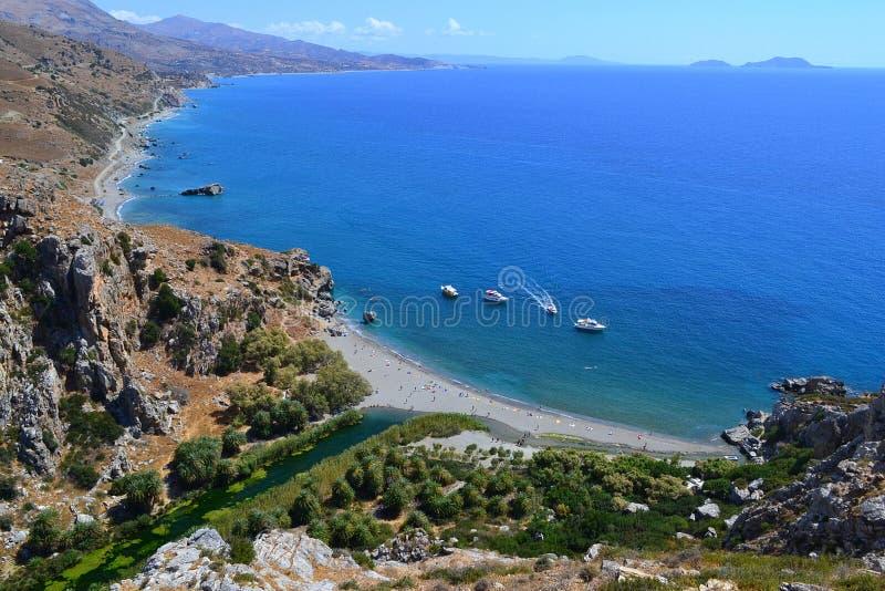 Пляж Preveli, Creta, Греция стоковые изображения