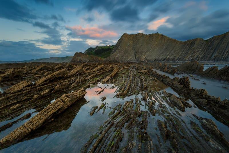 Пляж Sakoneta в Deba стоковые изображения rf