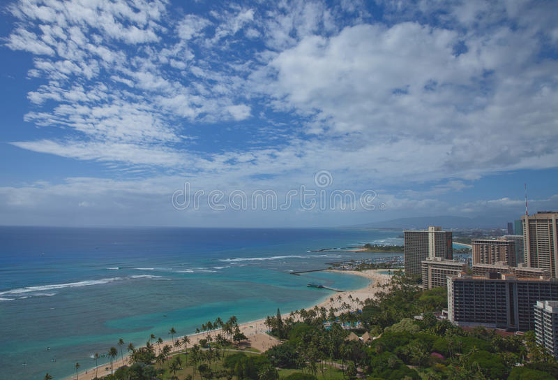 Пляж Waikiki в Оаху, Гаваи стоковое фото rf